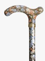 Fashionable Chelsea Slimline Walking Stick Cane - Dark Green Floral by Classic Canes (Floral Cane)