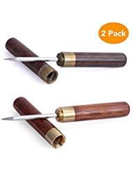 Choppie Ice Picks für die Küche, 2 Stück Ultra Sharp Edelstahl Eispickmesser mit Holzgriff, professioneller Eispickel mit Sicherheitsabdeckung, tragbares Holz Eispickel für Küche mit Scheide -