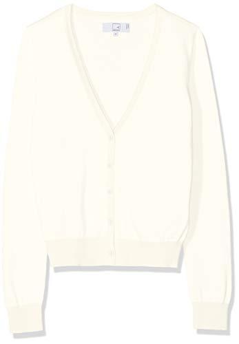Baumwoll-strickjacke (MERAKI Baumwoll-Strickjacke Damen mit V-Ausschnitt, Elfenbein (Ivory), 38 (Herstellergröße: Medium))