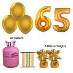 65e anniversaire de l'or Ballons et paquet de gaz d'hélium