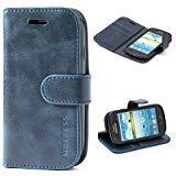 Mulbess Ledertasche im Ständer Book Case / Kartenfach für Samsung Galaxy S3 mini Tasche Hülle Leder Etui,Dunkelblau