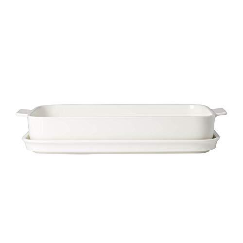 Villeroy & Boch Clever Cooking Rechteckige Backform mit Deckel, 2-teilig, 34 x 24 cm, Premium Porzellan, Weiß