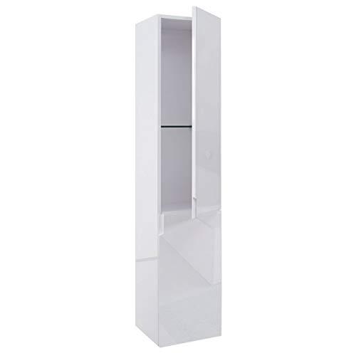 Mendler Hängeschrank HWC-B19, Midischrank Hochschrank Badezimmer Badmöbel, Hochglanz 150x30cm ~ weiß -