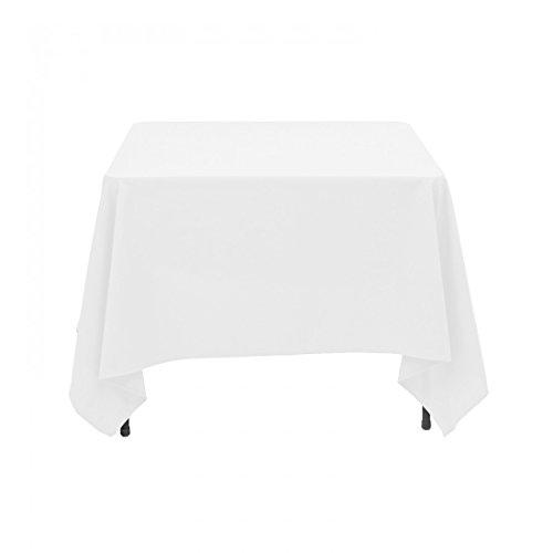 Weddecor–228,6x 228,6cm quadrato bianco in cotone poliestere tovaglia copertura per matrimonio, festa di compleanno mostra eventi banchetti e ristoranti, tessuto, 54