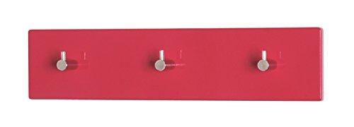 6er Set Garderobenleisten in rot-chrom aus MDF; Maße (BTH) in cm: 34 x 5 x 8