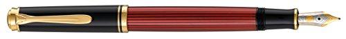 Pelikan 928820 Kolbenfüllhalter Souverän M 600 Bicolor-goldfeder 14-K/585 Federbreite M, 1 Stück, schwarz/rot