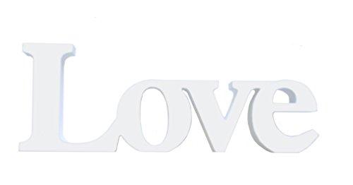 """Scritta con piedistallo in lingua inglese """"love"""", grande e in stile shabby chic, in legno, da 30 cm, da appendere o tenere in piedi"""