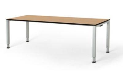mauser Rechtecktisch, Fußform Quadratrohr - HxBxT 650 – 850 x 2000 x 800 mm, Vollkernplatte, Gestell alufarben - Tischsysteme Bürotische...