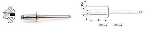 100 Rivets aveugles standards Inox A2/Inox A2 Tête Ronde Standard 4X16 DEGOMETAL 105 140 161