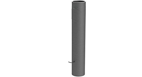 Ofenrohr Längenelement doppelwandig, mit 1000mm Länge mit Drosselklappe, Tür (mit Einzug), Ø 130mm Durchmesser; gussgrau lackiert