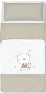 pirulos 33013010 - Sac couette Motif ours Star, coton, 62 x 125 cm, couleur blanc et lin