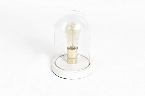 LIFA LIVING | Lampe de Salon Design à Poser | Lampe Sous Cloche Verre LED | Cloche en Verre et Socle en Bois