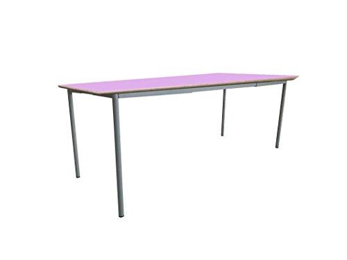 Mobeduc pour Enfant Extensible Table carrée, Bois, Rose, Taille 1, 120 x 80 x 46 cm