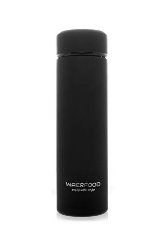 Thermoskanne WAERFOOD | Isolierkanne 500ml - BPA, BPS Frei | Edelstahl Thermosflasche Tee, Kaffee | Isolierflasche | Inklusive Teesieb | Trinkflasche Fitness, Yoga, Fahrrad
