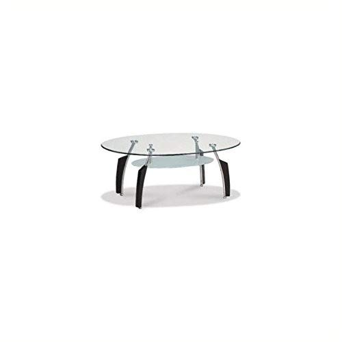 Global Furniture USA T138gelegentlichen Couchtisch mit schwarz Beine, transparent/Silber (Global Furniture Usa)