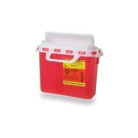 BD 5.4 Quart Red Horizontal Entry Sharps Container - Red Sharps Container