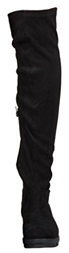 WOMENS LADIES THIGH HIGH OVER THE KNEE FLAT LOW HEEL STRETCH BOOTS SIZE 3