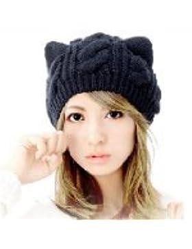 IDEABBC Oto?o e invierno de punto Gorros Sombreros para las mujeres de piel de conejo Cap Moda Skullies