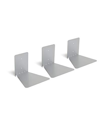 Umbra 1005073-560 Conceal 3-Pack Book Shelf, schwebendes Bücherregal aus Metall, Set von 3, Silber -