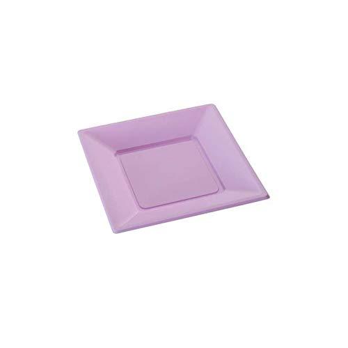 12 grandes assiettes carrées parme jetables PVC souple - 23 cm x 23 cm