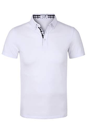 MAROJO Herren Poloshirt Kurzarm Einfarbig Karo Patchwork Sommer T-Shirt Men's Polo Shirt (Weiß, L)