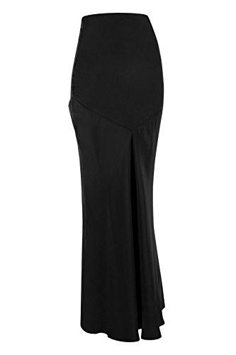 Fischschwanz-saum Rock (Ladies Designer Modest - Langer, langer, hoher Taillen-Saum mit Fischschwanz Maxi-Rock mit V-Ausschnitt - Schwarz - (Size = L))