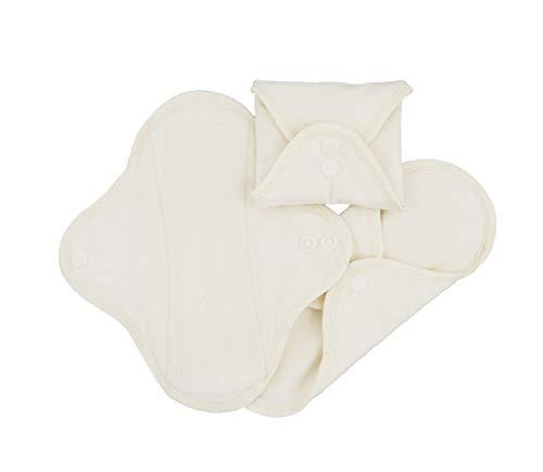Imsevimse Waschbare Stoffbinden Slipeinlage 3er Set, weiß, Binden Regular (9 x 24,5 cm) - Natürliche Sanitary Pads