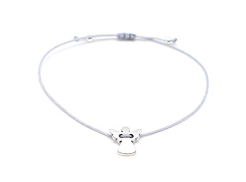 Schutzengel Armband Silber - Graues Bändchen/Glücksbringer Armkettchen Damen SelfmadeJewelry handmade