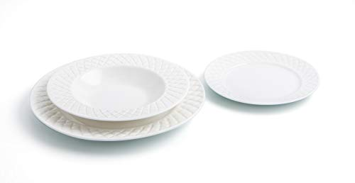 Bidasoa Optical Vajilla de porcelana para 6 personas, 18 piezas, Blanca, Superficie con relieve,