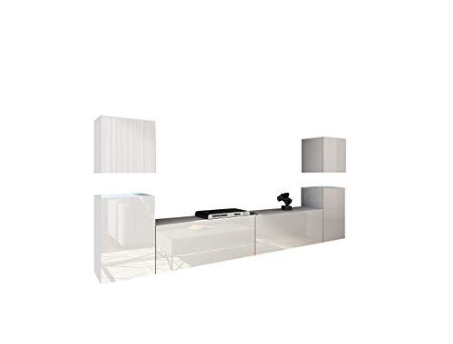 Home Direct Future 32, Modernes Wohnzimmer, Wohnwände, Wohnschränke, Schrankwand, Möbel 32/HG/W/2 1A (Front: Weiß Hochglanz/Korpus: Weiß Matt, LED RGB 16 Farben)