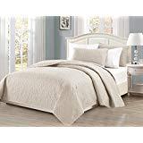 Linen Plus Bettwäsche-Set für King-Size-Bett/California King 3-teilig, geprägt, Rautenmuster, Übergröße, Beige -