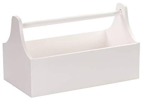 LAUBLUST Große Werkzeugkiste mit Griff - 34 x 18 x 20 cm, Weiß, FSC®   Aufbewahrungs-Kiste aus Holz   Geschenkverpackung   Blumen-Kasten   Dekobox   Bastel-Kasten   Spielzeugtrage   Flaschen-Korb
