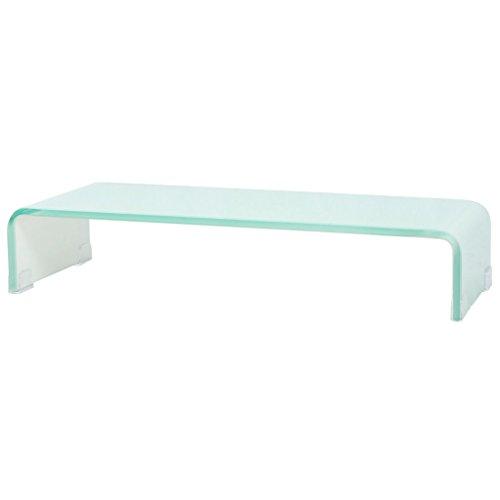 vidaXL TV-Glasaufsatz Tisch Monitor Erhöhung Glasbühne Podest Weiß 60x25x11 cm