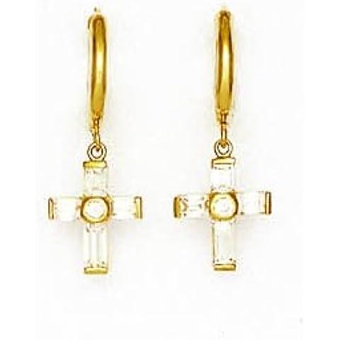 Oro Giallo 14ct baguette e rotondo CZ goccia orecchini a croce