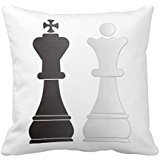 Black King White Queen Chess Pieces Pillow