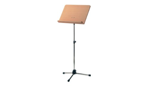 Konig & Meyer 11819-500-01 680mm to 1210mm Adjustable Orchestra Music Stand with Beech Wooden Desk - Nickel