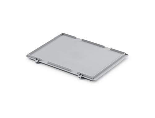 Scharnierdeckel/Verschlussdeckel für Euro-Stapelbox EB-400, 400x300 mm (LxBxH), grau ähnl. RAL7001, aus Polypropylen, lebensmittelecht