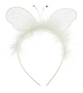 Mädchen Damen Fancy Up Party Kleid Fairy Princess Alice Band Stirnband Weiß Schmetterling, ideal für Kostüme, Verkleidungen, Halloween, Prinzessin Outfit, (Tiara Kostüme Toddler Halloween Und)