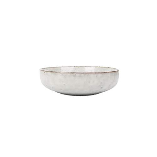 Europäische gestreifte Keramik Suppenteller nach Hause Retro Runde flache Salat Suppenschüssel Suppe tiefen Teller Geschirr 6,8 Zoll milchig weißen Punctiary Platte