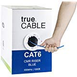 23 AWG 4 Pair CAT 6E Cable Riser CMR Non Shielded - Solid Bare Copper - 550 MHZ Blue Jacket - Cut Wire Lengths Available - 1000 feet