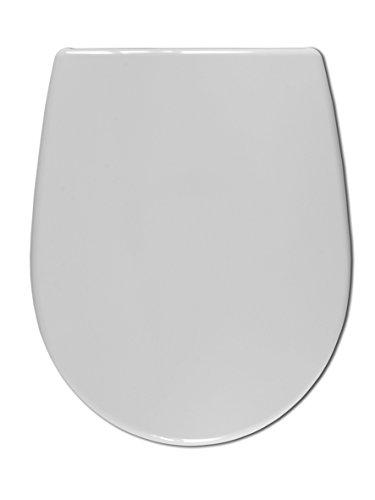 WENKO 21499100 Deluxe WC-Sitz Arosa - Absenkautomatik, rostfreie Hygiene-Edelstahlbefestigung, Kunststoff - Duroplast, 37.5 x 45.7 cm, Weiß