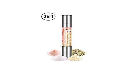 2in1 Mühle Salz- und Pfeffermühle ungefüllt mit Keramikmahlwerk 2 in 1 Edelstahl und Acrylglas Dual Mill Set Combo Mill Mill Grinder -