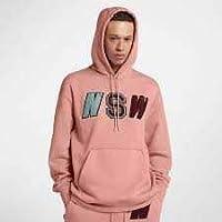 Nike M NSW Po FLC, Felpa con Cappuccio Uomo, Rosa, L