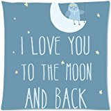 Quotes I Love You to the Moon and Back Pillow Cases Cover 18×18 inch Cushion Case (Two sides)