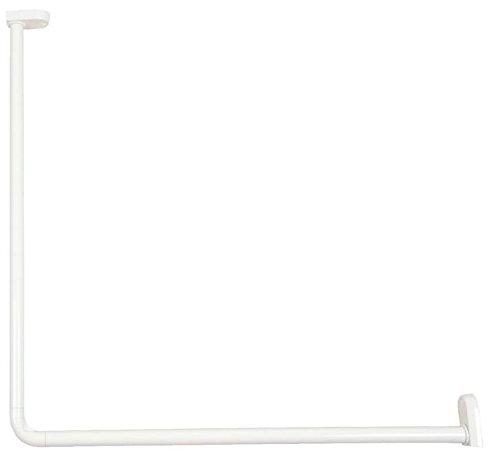 Brico-Materiaux - Kit Porte-Rideau D'Angle En Aluminium - 25 Mm - 80 X 80 - Finition : Blanc