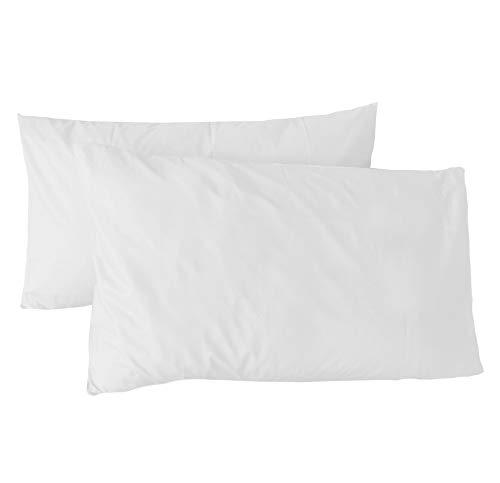 Coppia di federe per cuscino,guanciale in puro cotone 50x80 (bianco)