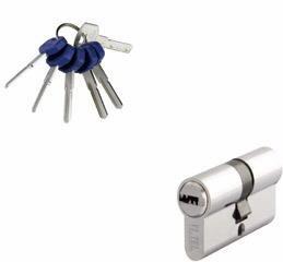 Telese Schließzylinder 85mm (40+45) mit 4 Schlüssen + Einwegschlüssel, Chrom Satiniert/Metall