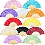 12 Packung Handfächer Silk Bambus Faltfächer Handheld Gefaltet Fan für Kirche Hochzeitsgeschenk, Party Favors, DIY Dekoration (Mehrfarbig) -