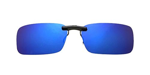 BOZEVON Sonnenbrillen-Clip auf Flip Up Polarisierte Linse - Unisex Rechteck Klipp auf Klapp-Sonnenbrille für Brillen im Freien und Fahren, Blau