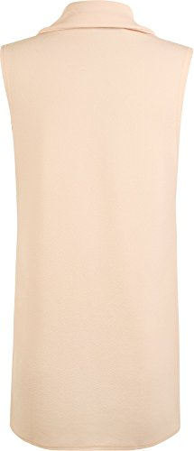 WearAll - Femmes Sans manches en crêpe Ouvrir gilet long Pocket Top Jacket - Jackets - Femmes - Taille 36-42 Nude